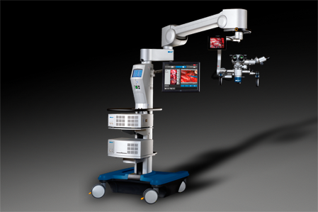 Haag-Streit 3-1000 surgical microscope with stand