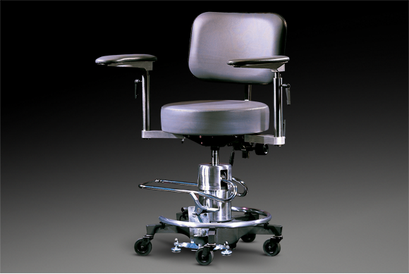 500 series stool with round seat, arms, and back