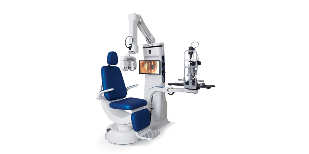 XOMA System: crescent chair, slit lamp and control unit